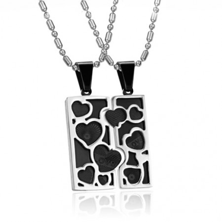 Fashion LOVE Jigsaw Stainless Steel Lover's Necklace(Price For a Pair)