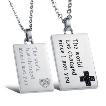 Heart and Cross Design Pendant Lovers' Necklaces with Titanium Steel Necklaces