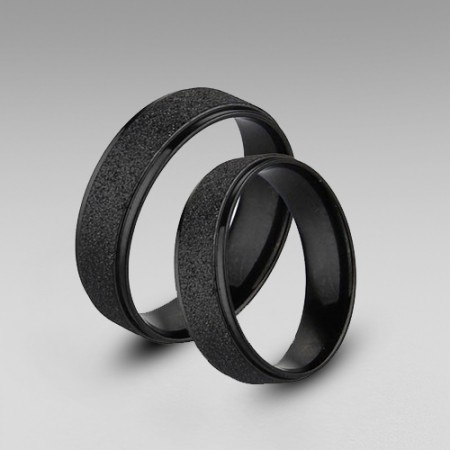 Black Matting Titanium Steel in Simple Style His and Hers Rings