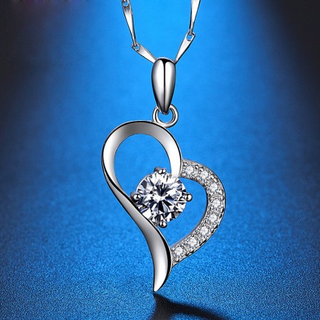 Fashion In heart Shaped 999 Sterling Silver Pendant Necklace
