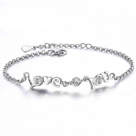 "Fashion Express Love Gift 925 Sterling Silver ""I LOVE YOU"" Bracelet"