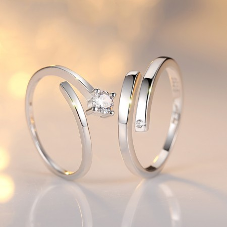 Romantic 925 Sterling Silver Lover's Adjustable Rings(Price for One Pair)