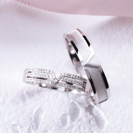 2018 New 925 Sterling Silver Platinum Plated Cubic Zirconia Lovers Rings