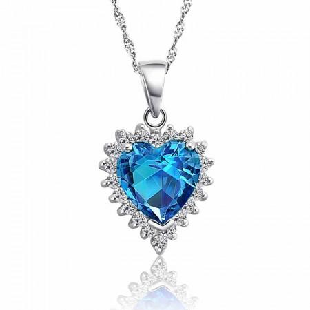 Shine S925 Silver Heart Shape Short Paragraph Fashion Necklace