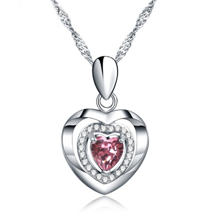 Classic Heart-Shaped S925 Silver Inlay Cubic Zirconia Necklace