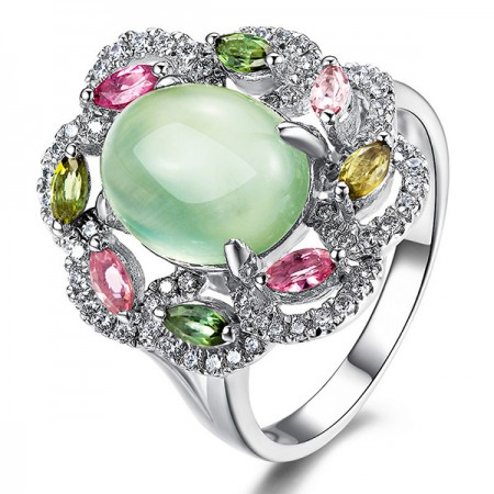 Natural Oval Prehnite 925 Silver Personality Cocktail Ring For Women