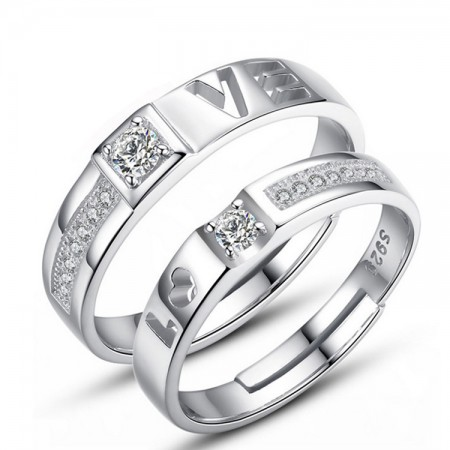 Adjustable Size 925 Sterling Silver Lover Ring For Couples