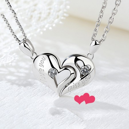 CreativeLove You Miss You Heart's Kiss With Crystal 925 Sterling Silver Lovers Necklaces (Price For a Pair)