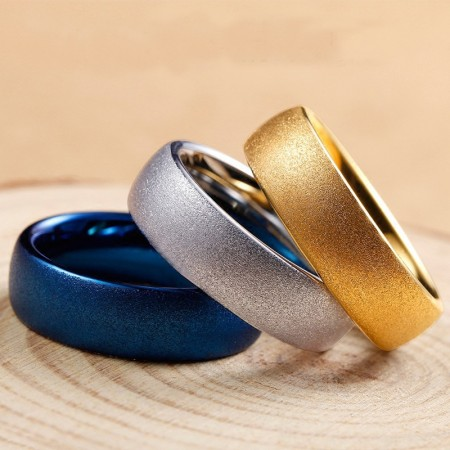 Silver & Blue & Golden 857 Tungsten Frosted Simple Ring