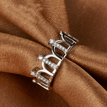 Retro Crown 925 Silver Plated Platinum Fashion Ring Birthday Gift