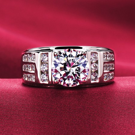 3.0 Carat Simulated Diamond Engagement/Wedding/Promise Ring For Him