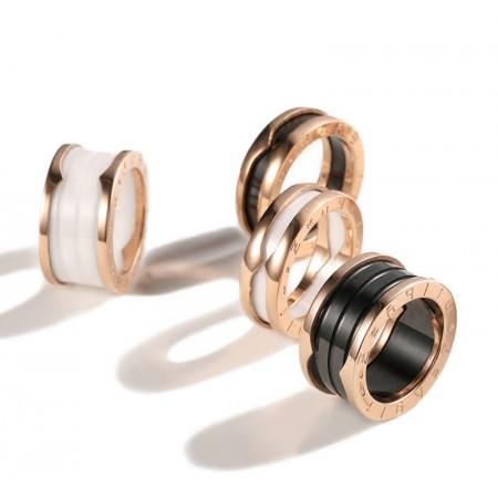 316L Titanium Steel Rose Gold & White Or Black Ceramic Ring