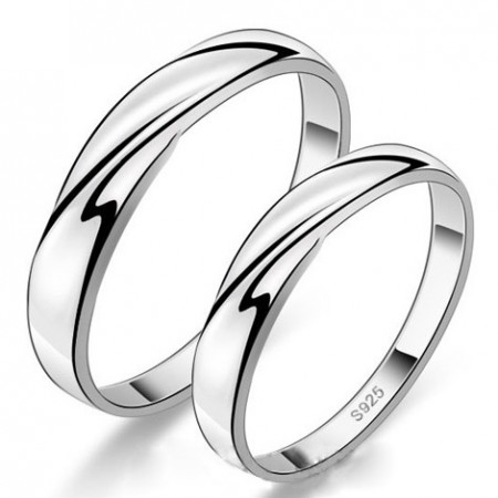 Simple Low-Key Creative Lettering 925 Sterling Silver Couple Rings