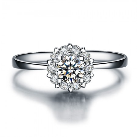 Luxury Three-Dimensional Inlaid CZ 925 Sterling Silver Plated 18k White Gold Engagement Ring