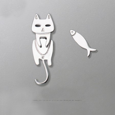Cat and Fish S925 Sterling Silver One Pair Earrings for Girls Teens Boys Students Women