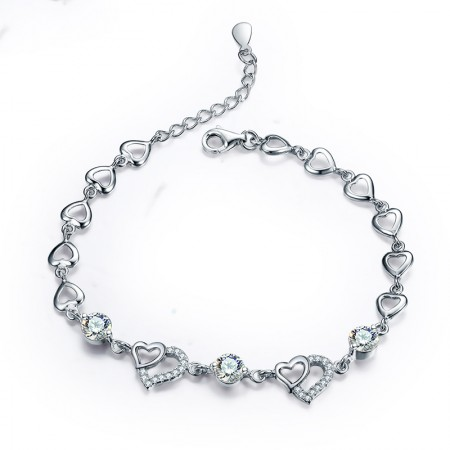 Romantic Fashion 925 Sterling Silver Heart-Shaped Inlaid CZ Bracelet