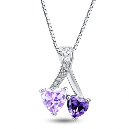 Natural Purple Crystal 925 Sterling Silver Heart shape CZ Women's Necklace