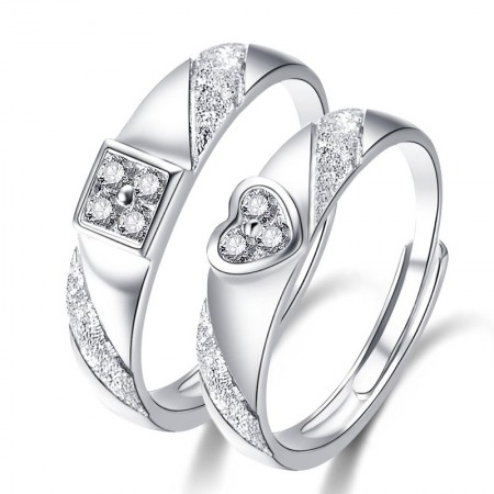 Adjustable 925 Sterling Silver With CZ Couple Rings For Lover(Price For a Pair)