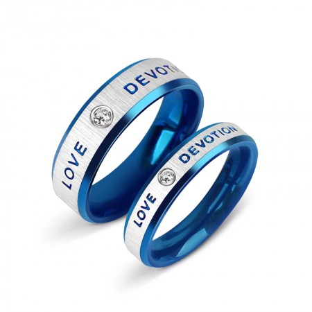 New Fashion Blue Love Titanium Steel Cubic Zirconia Couple Rings  (Price For a Pair)