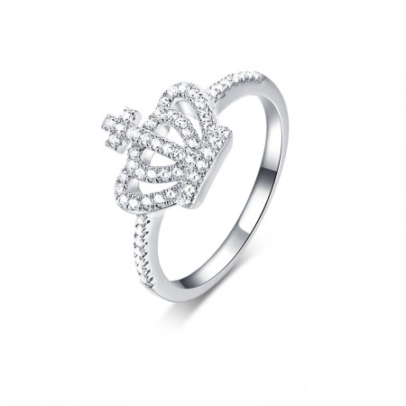 Sweet And Lovely S925 Sterling Silver Hand-Inlaid Cubic Zirconia Crown Ring