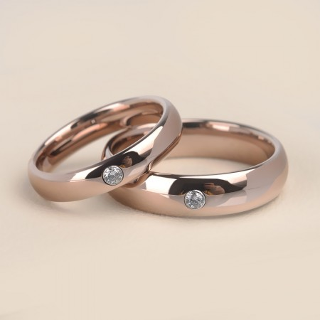Simple Rose Gold Tungsten Promise Rings For Couples (Price For a Pair)