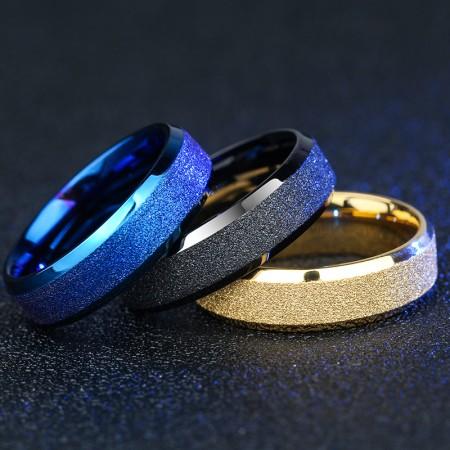 Titanium Steel Diagonal Men's Ring, Four Colors