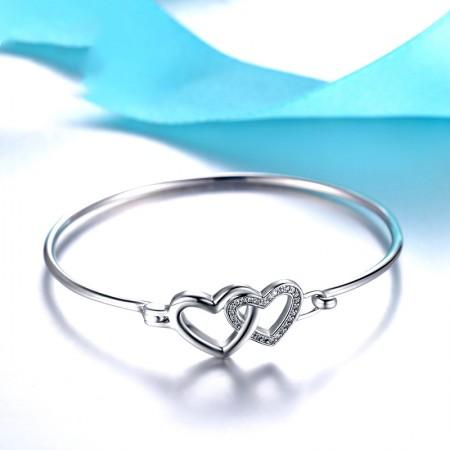 Fashion Heart Shape 925 Sterling Silver Oval Opening Bracelet