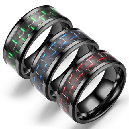 Personalized Titanium Steel Black & Sliver Men Rings