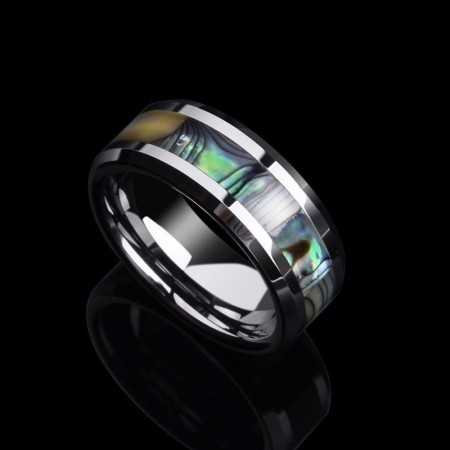 Shell Tungsten Rings Comfort Fit Mother of Peal Men Women Wedding Band