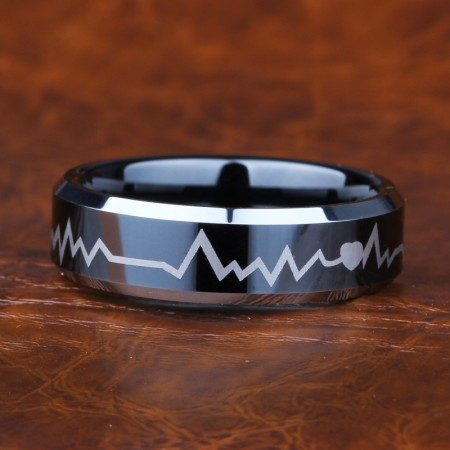 Heartbeat Tungsten Ring For Men