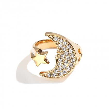Fashion Star & Moon Golden Ring