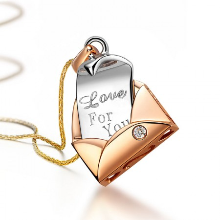 Creative Love Letter 18K Rose Gold Plated 925 Sterling Silver Necklace