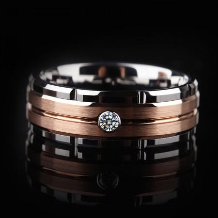 Rose Gold Tungsten Zircon Ring | Men's Tungsten Wedding Band