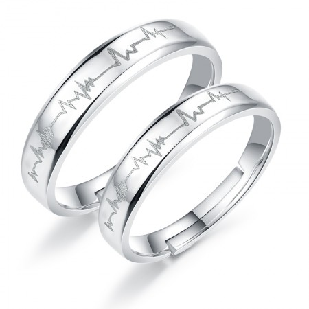 Latest 925 Sterling Silver Open Heartbeat Rings