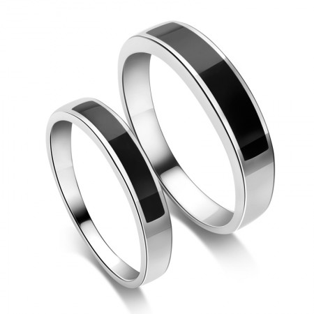 925 Sterling Silver Platinum Plated Black Agate Simple Style Couple Rings  (Price For a Pair)