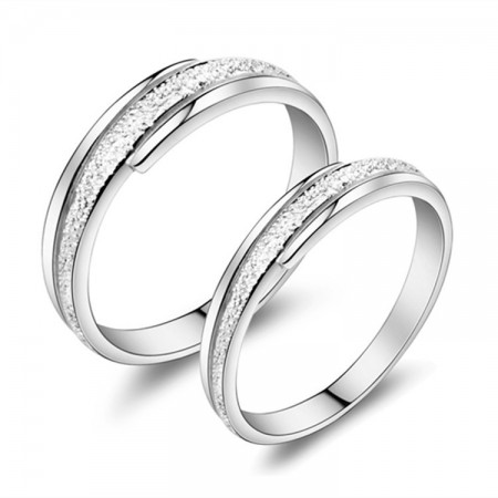 925 Silver Rhodium Infinite Love Frosted Lettering Couple Rings