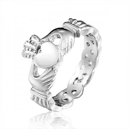Romantic Stainless Steel Unisex Heart Crown Claddagh Ring