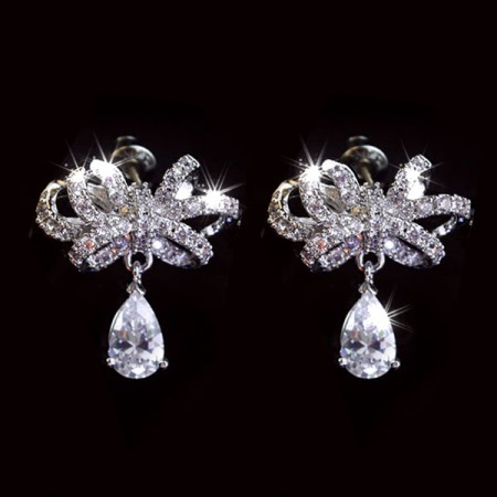 Fashion All-match Bowknot Shape Crystal 925 Sterling Silver Drop Earrings