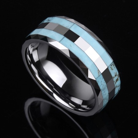 Tungsten Inlaid Turquoise Promise Ring for Him