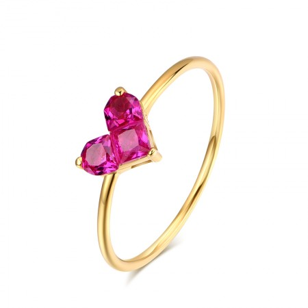 Fashion Silver Rose Gold Plated Heart Ring