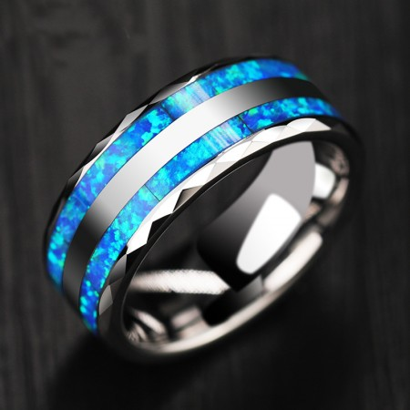 Personalized Opal Men's Tungsten Ring | Promise Ring For Him | Men's Wedding Band