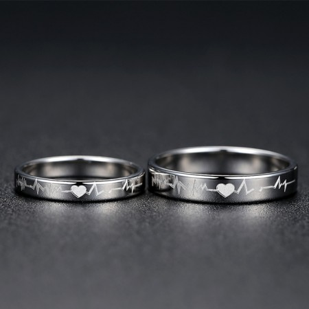 Simple Heartbeat 925 Sterling Silver Couple Rings