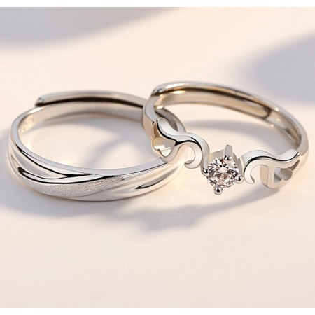 Meet My Love s925 Sterling Silver Lovers Couple Rings