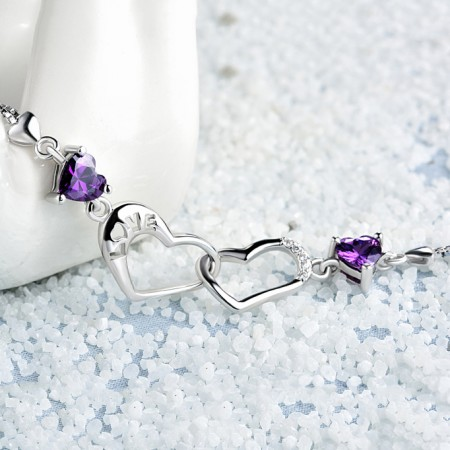925 Sterling Silver Jewellery Fashion Double Heart Purple CZ Gem Bracelet Bangle
