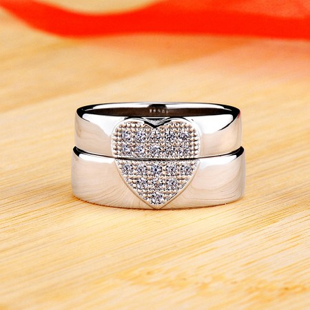 Heart-Shaped 925 Sterling Silver Plated Platinum Promise/Wedding/Engagement Couple Ring