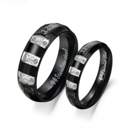 316L Titanium Steel Black Lover Rings(Price For a Pair)