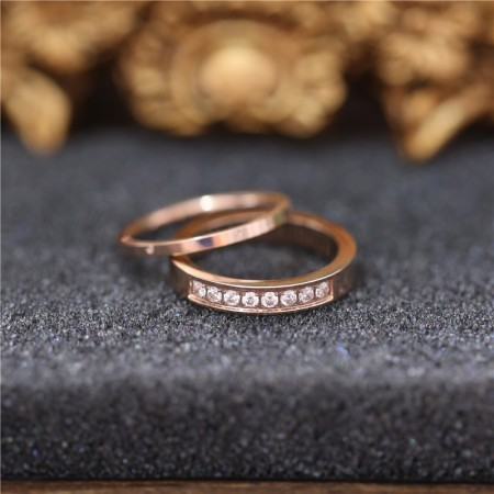 Rose Gold Plated Titanium Steel Lovers Couple Rings