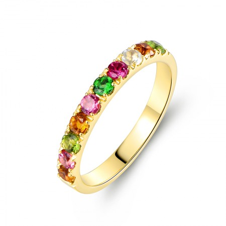 Natural Tourmaline 18K Rose Gold / 18K Gold / PT950 Promise Ring For Women Wedding Ring