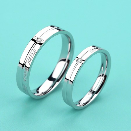 """""""LOVE NEVER FAILS"""" Promise Rings For Couples (Price For a Pair)"""