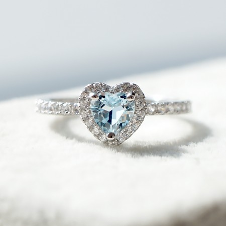 Natural Heart Sea Blue Aquamarine S925 Silver Engagement Ring
